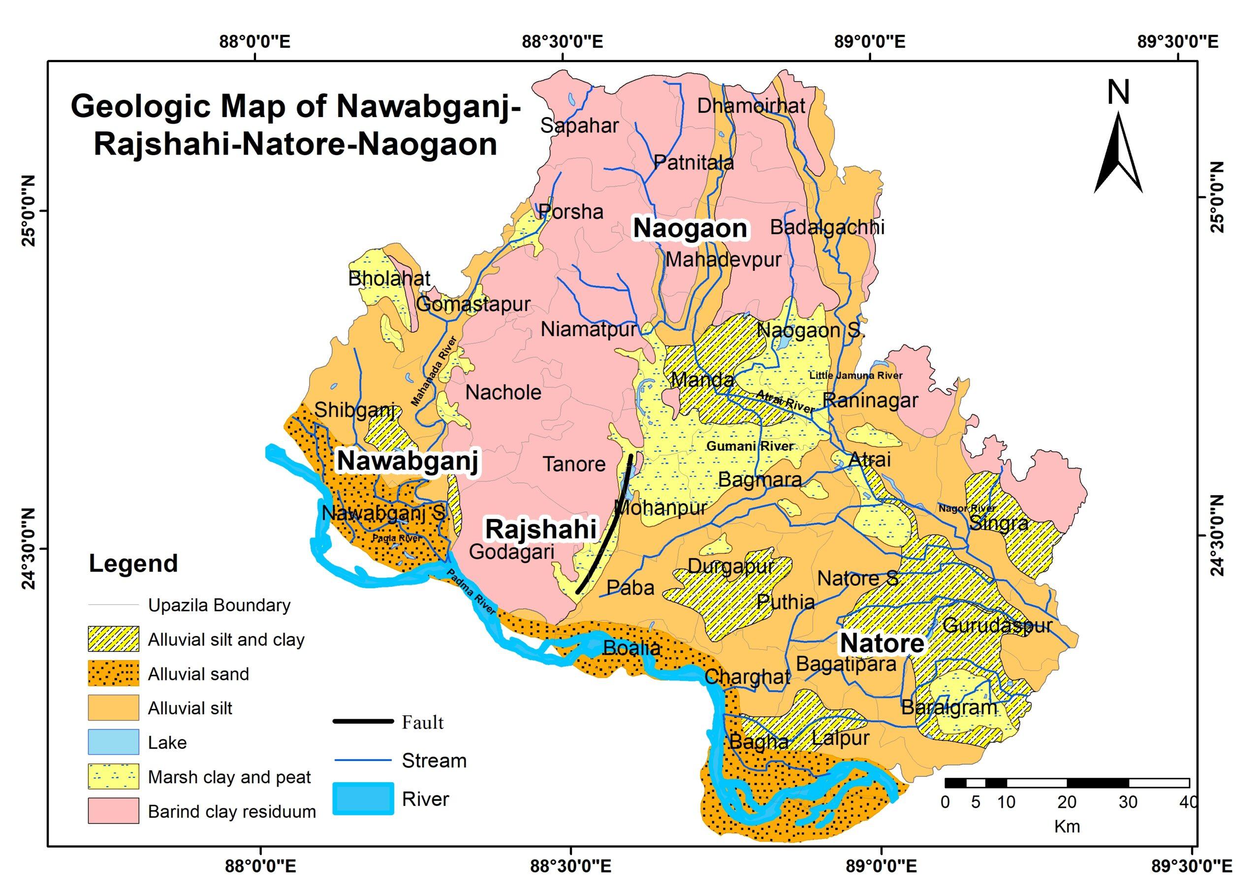 Geologic Map of Nawabganj-Rajshahi-Natore-Naogaon