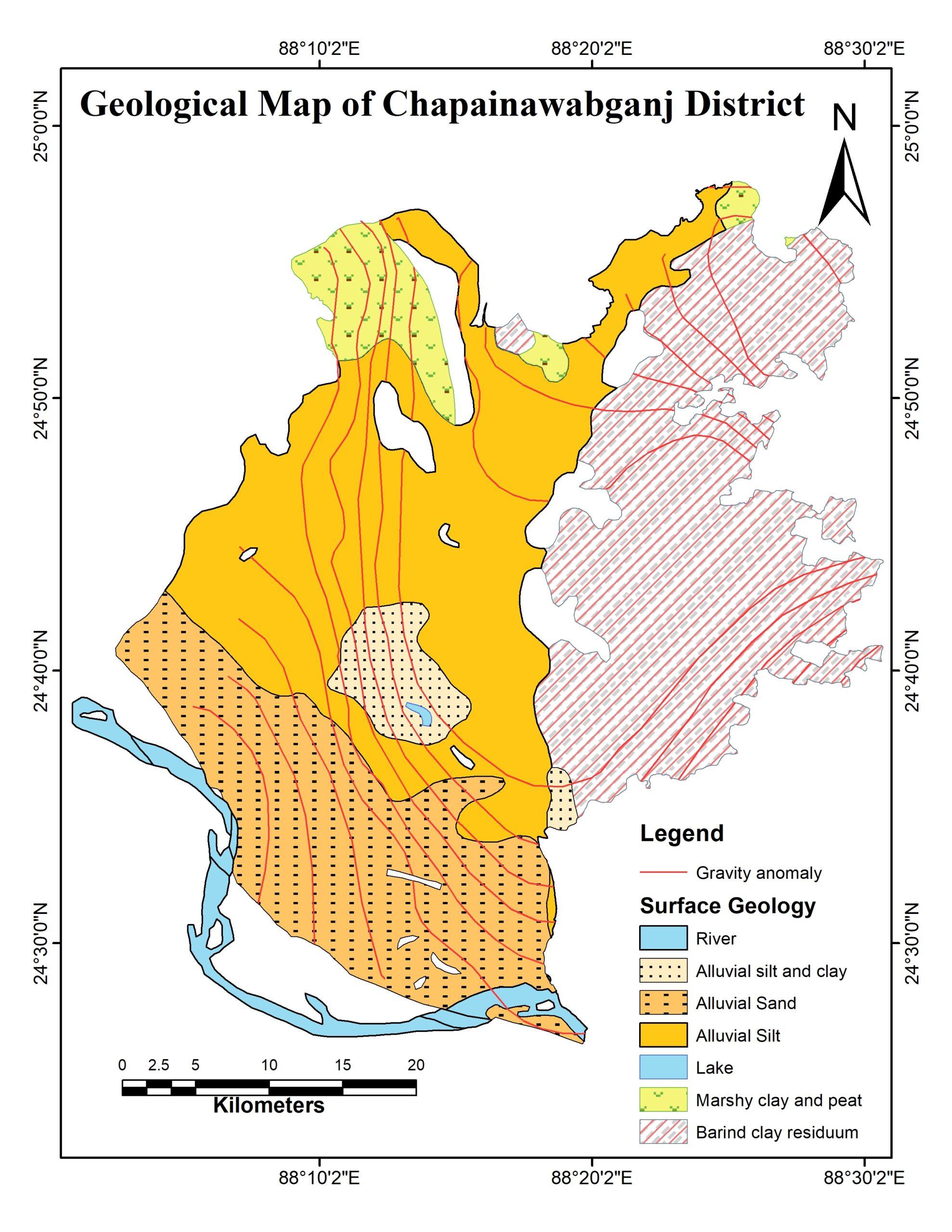 Geological Map of Chapainawabgonj district